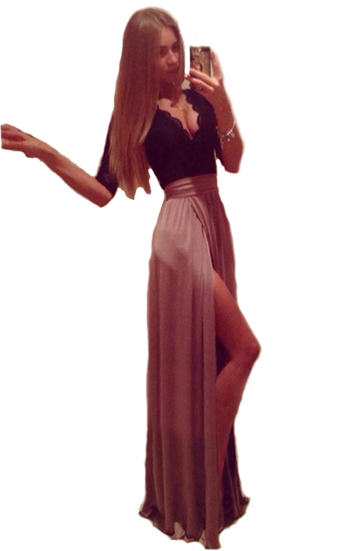 elegante-abito-cerimonia-da-donna-vestito-lungo-damigella-scollo-a-V-festa-party