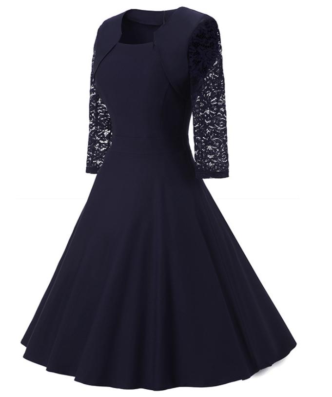 elegante-abito-cerimonia-da-donna-manica-in-pizzo-a-3-4-vestito-corto-sera-party