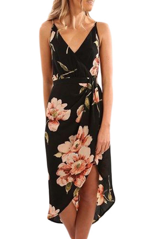 sexy-mini-abito-vestito-con-stampa-floreale-scollo-a-V-profondo-spacco-davanti-v