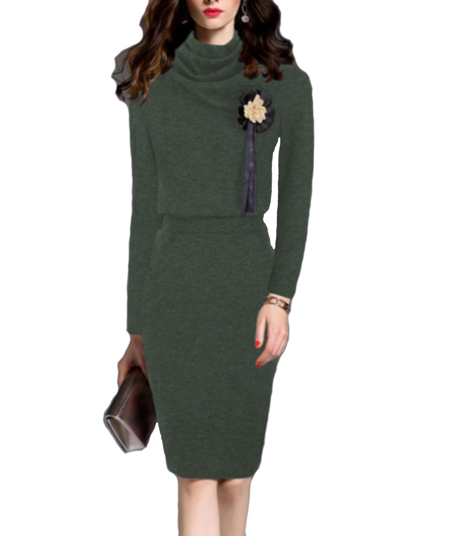 elegante-abito-Vestito-invernale-in-maglia-donna-maxi-maglione-collo-alto