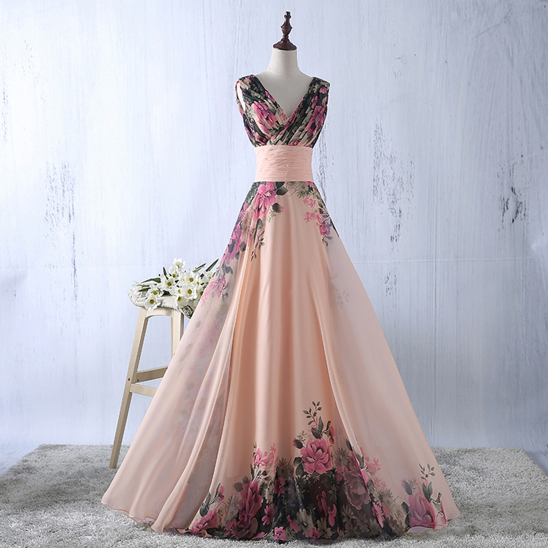 abito-cerimonia-da-donna-in-chiffon-damigella-vestito-lungo-elegante-floreale miniatura 6