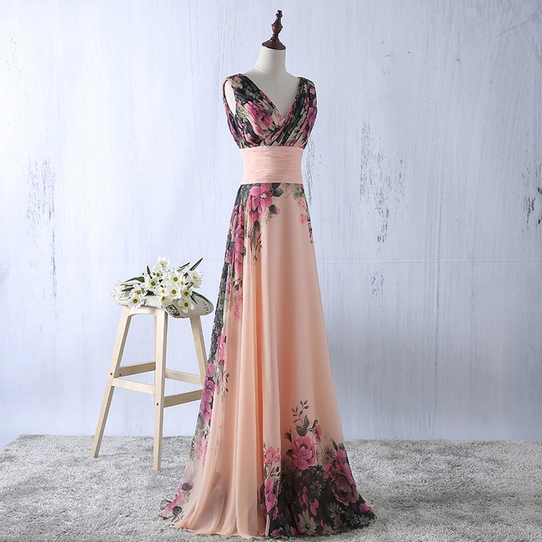 abito-cerimonia-da-donna-in-chiffon-damigella-vestito-lungo-elegante-floreale miniatura 4