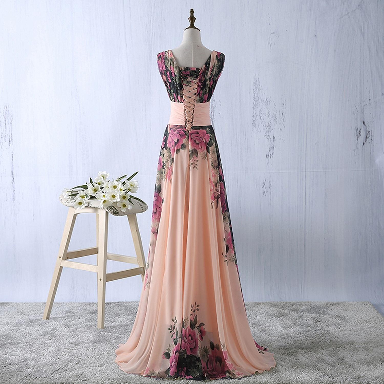 abito-cerimonia-da-donna-in-chiffon-damigella-vestito-lungo-elegante-floreale miniatura 7