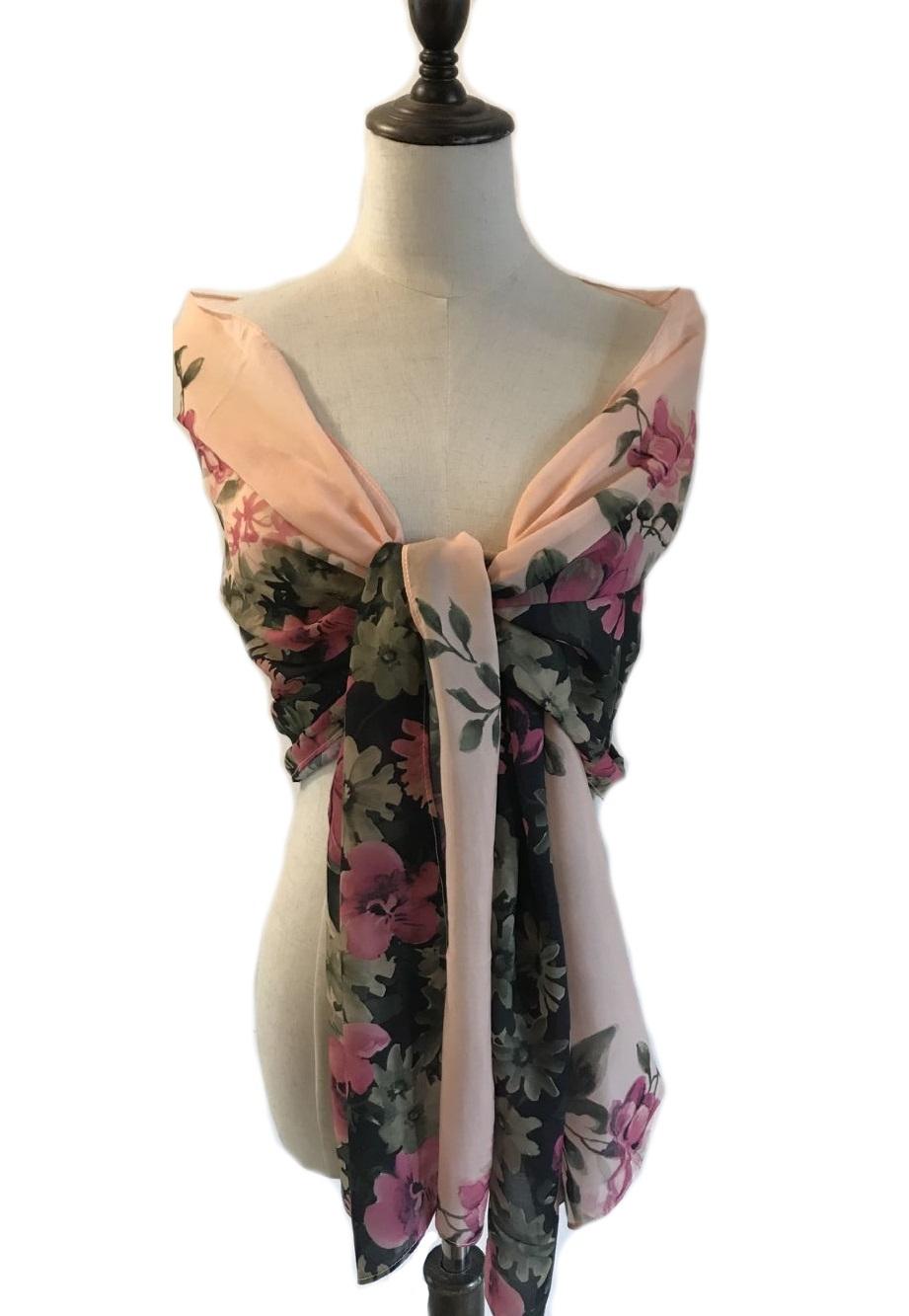 abito-cerimonia-da-donna-in-chiffon-damigella-vestito-lungo-elegante-floreale miniatura 5