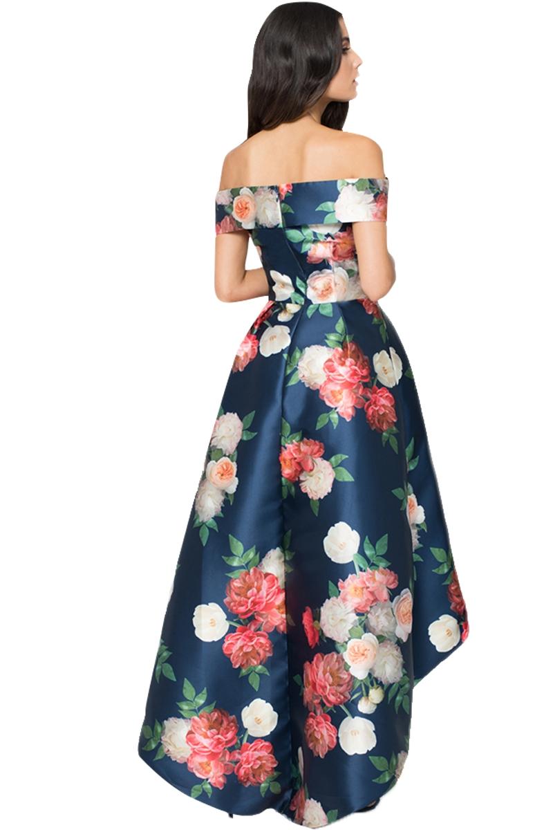 7fc98bd69d61 Elegante vestito lungo abito cerimonia donna fantasia floreale orlo ...