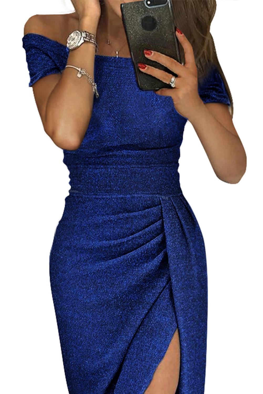 abito-lungo-cerimonia-donna-con-spacco-scollatura-a-barchetta-e-arricciatura miniatura 6