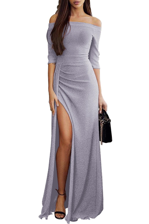 c8190854d5c1 abito lungo cerimonia donna con spacco scollatura a barchetta e ...