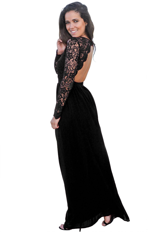 55a1aa14503df9 sexy elegante abito cerimonia da donna schiena nuda vestito lungo da ...