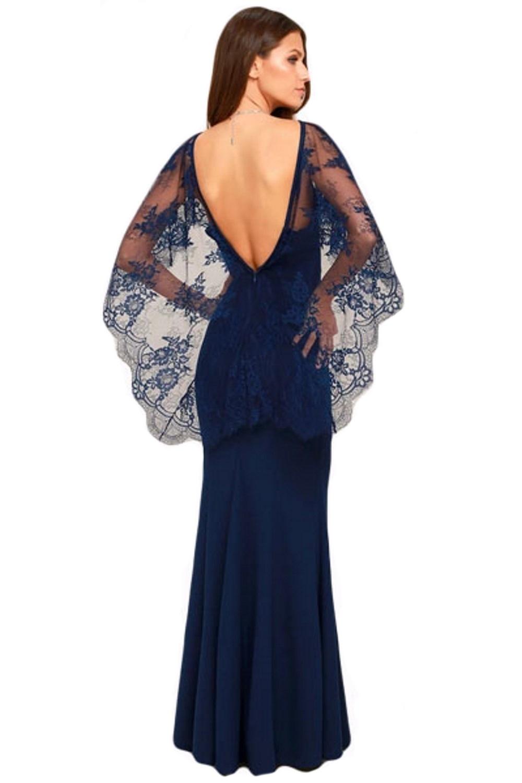 timeless design b4218 c0123 Dettagli su elegante abito lungo cerimonia donna maniche a mantella schiena  scoperta vestito