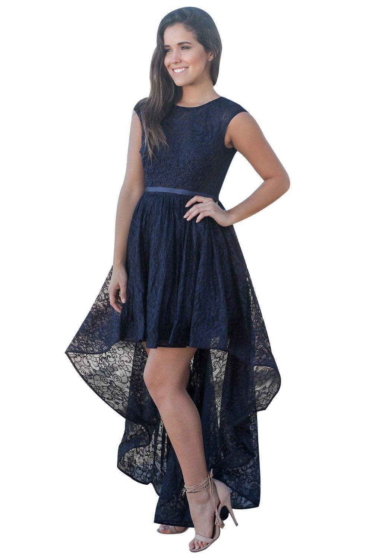 be2e0dc1f806 elegante abito lungo cerimonia da donna in pizzo floreale vestito ...