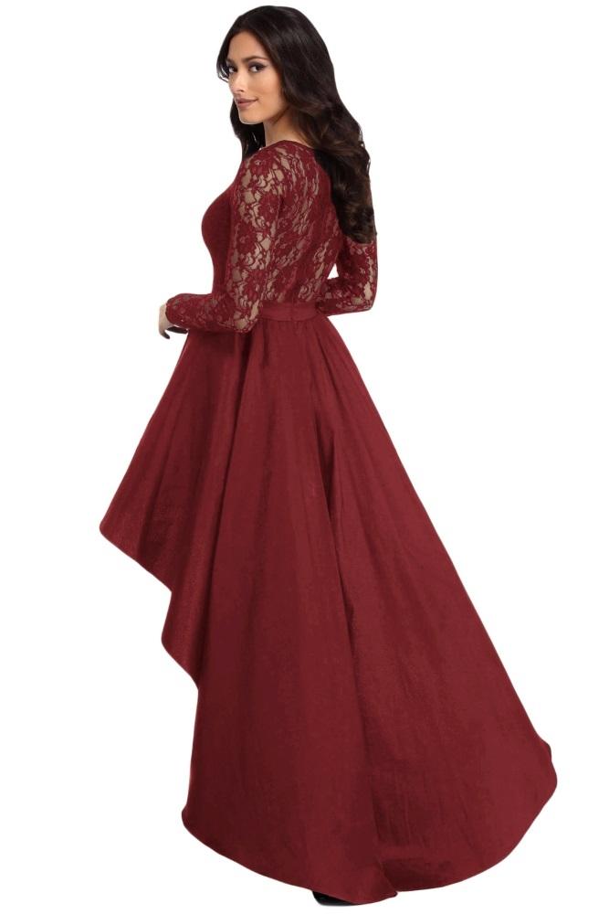 8c7c6f62e211f7 Elegante abito lungo cerimonia donna maniche pizzo vestito damigella festa  3 3 di 7 ...