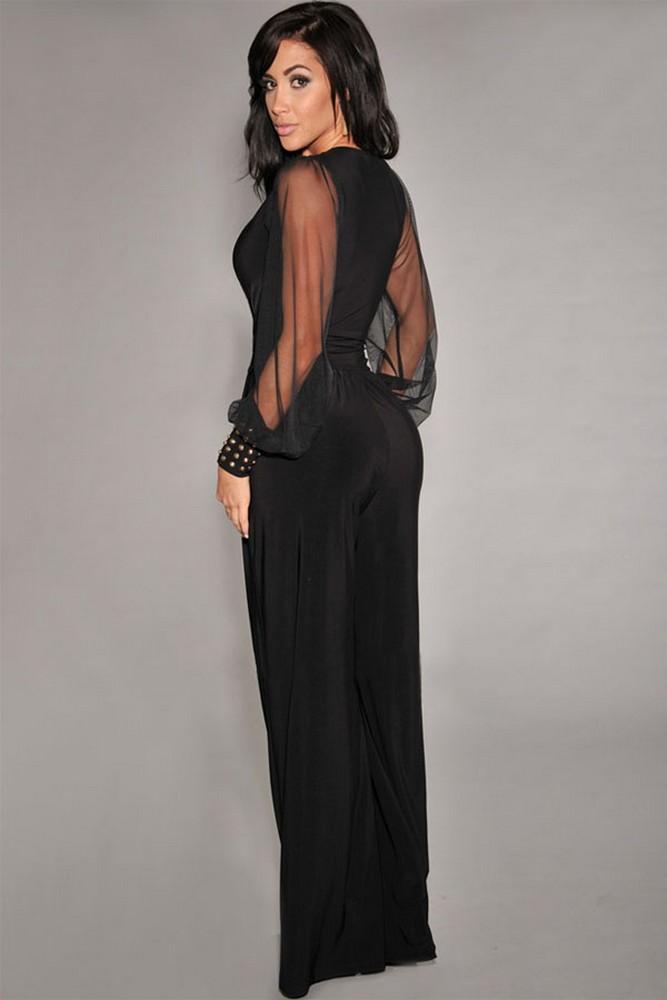 tuta elegante pantaloni lunghi a zampa jumpsuit vestito abito ... ce20e99571ed