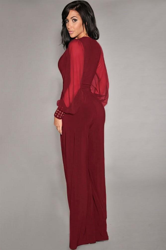 tuta-elegante-pantaloni-lunghi-a-zampa-jumpsuit-vestito-abito-cerimonia-da-donna miniatura 9