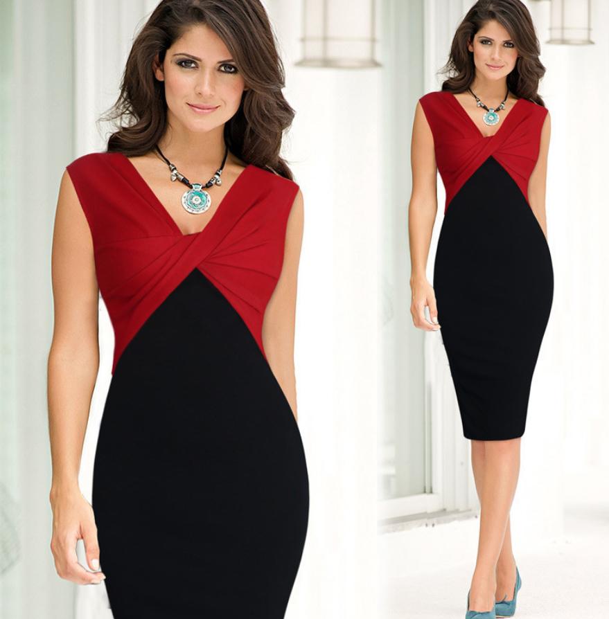 brand new 41d22 d63ad Dettagli su elegante abito cerimonia da donna vestito tubino bicolore  scollo a V sera festa